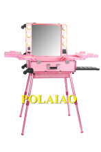 pink color lighting makeup train case station target vintage makeup artist rolling case with lights with stand
