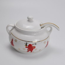 2.5L Custom Logo Printing Ceramic Cooking Stock Pot, Casserole Soup Pot