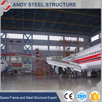 Safety Prefab Light Steel Metal Arch Roof Structure Airplane Hangar
