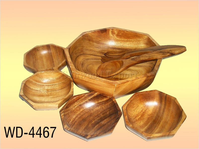 S/7 Wooden Octagon Salad Bowl