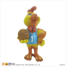 Sport Figure Resin Rooster Figurine Play Basketball