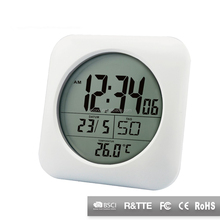 Round alluminum frame waterproof digital bathroom wall clock with RCC Function & temperature