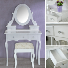 2018 New design luxurious bedroom solid wooden white simple cheap dressing table