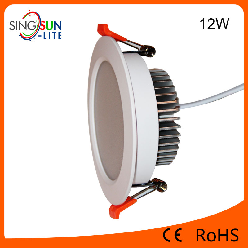 newest alibaba china factory led down light 12w ip44 recessed led round flat downlights for office light