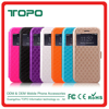 Factory price PU + TPU Hybrid Leather window view Mobile Phone Cover stand flip Case For iPhone 5 5s se 6 6s plus