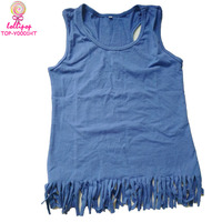 Wholesale Tassel Sleeveless Garment Tank Top Baby Cotton Frocks Designs baby girl t-shirt girls tops Blank Plain Tops