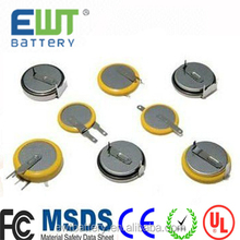 Ewt brand 3.6v rechargeable small size lithium ion battery LIR2032 for watch battery lir 2032 mini button battery