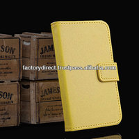 New Leather Flip Case Cover Pouch Bumper Wallet for Samsung Galaxy S5 S 5 V i9600 Yellow Best Quality