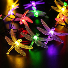 20 LED Dragonfly Solar String Fairy Lights/Waterproof Outdoor LED Holiday Decorative String Lights