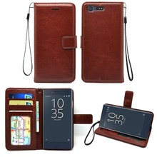 Stitching compact luxury leather flip wallet mobile phone case for Sony Xperia X