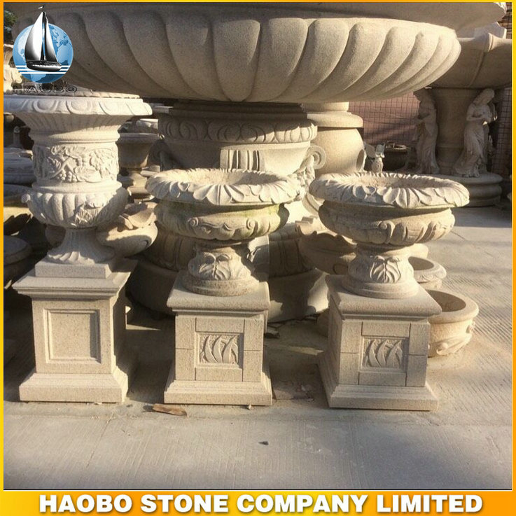 cheap outdoor granite flower pot with pedestal from Haobo