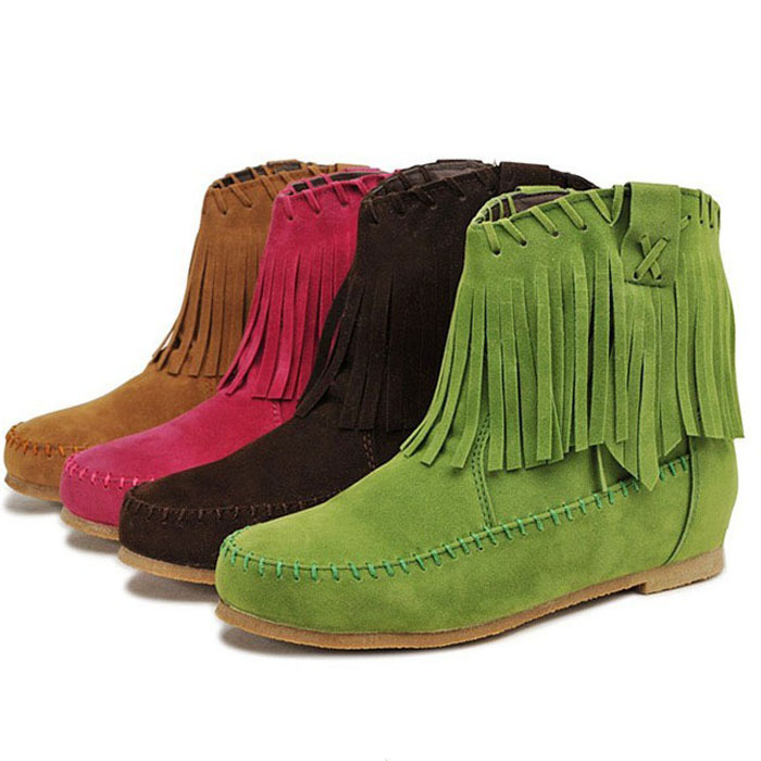 2014 autumn and winter fashion ankle boots for women shoes tassel elevator tassel women snow boots free shipping