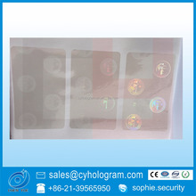 Custom adhesive anti counterfeiting id card overlay hologram