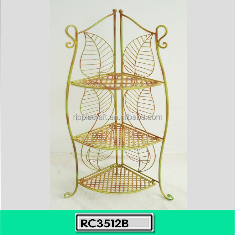 New Launch Golden Three Shelves Corner Rack Wrought Iron
