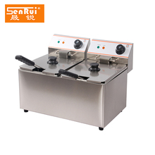 Commercial stainless steel deep fat fryer for kfc fryer machine with twin tanks double no-stick fry baskets for chicken fried
