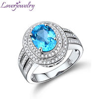 3.89Ct Carat Wedding Jewelry Blue Topaz Ring In Solid 14Kt White Gold Natural Diamond Cheap Engagement Ring Oval 8x10mm