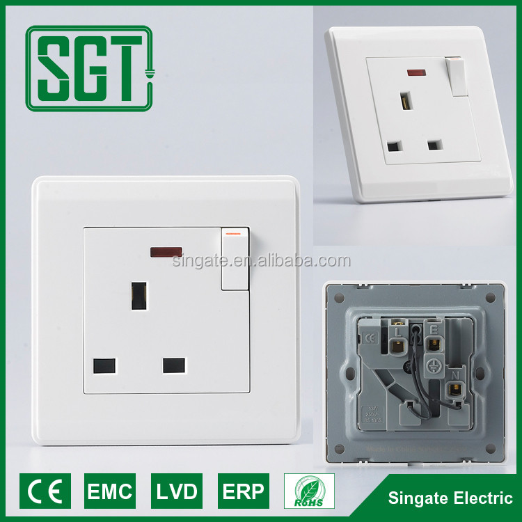 Top quality CE RoHS approval Attached indicator light 13A white electric wall socket and uk swich