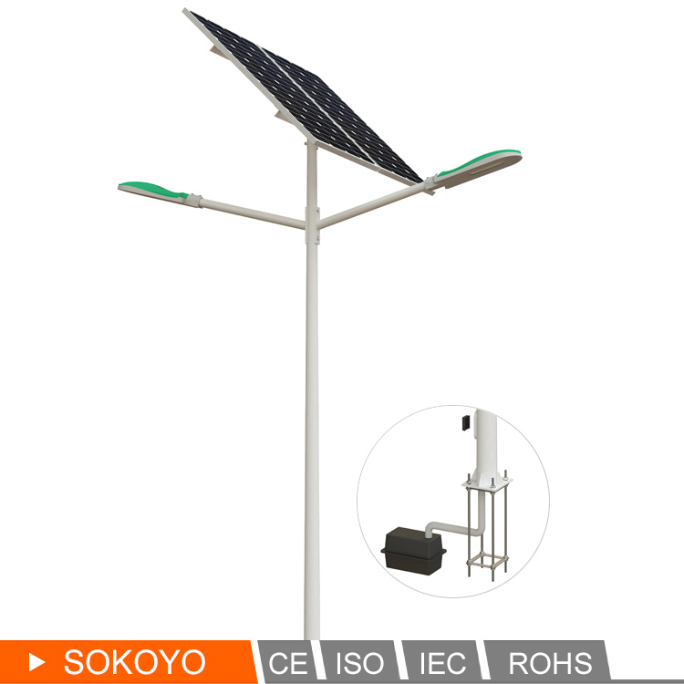 Solar street lamp manufacturer double arm led off road light