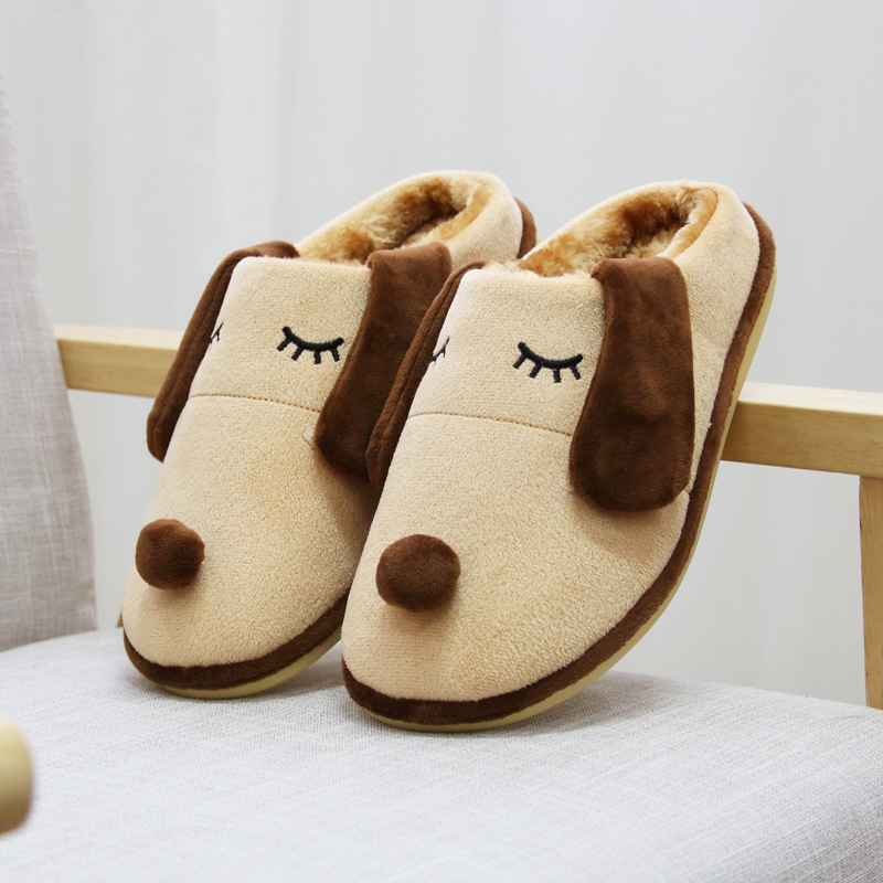 Baby Boy Cartoon Cute Dog Long Ear Soft Sole Plush Infant Toddler Kids Slippers