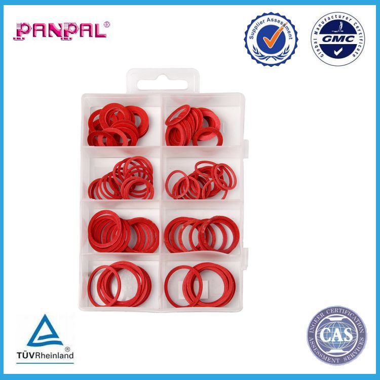 BSCI Approved factory hot sale 110pcs assorted sizes fibre red washers with PP box