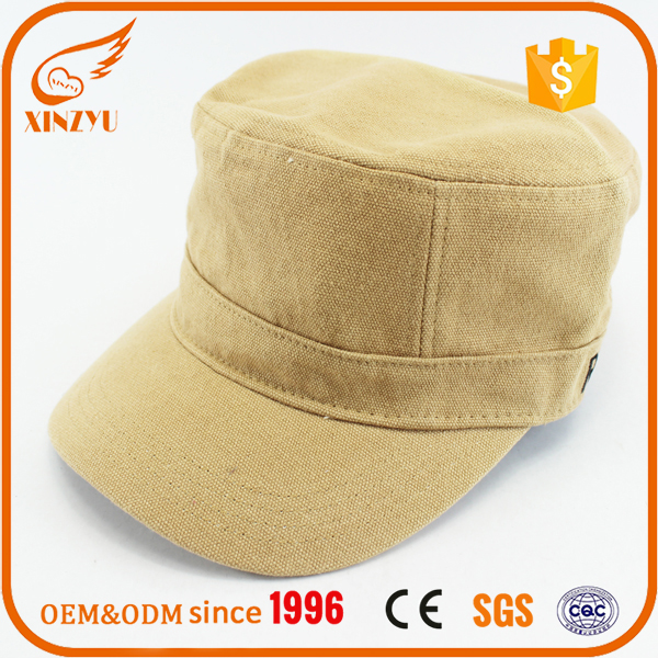 Custom cheap army style khaki military caps canvas fitted military hat