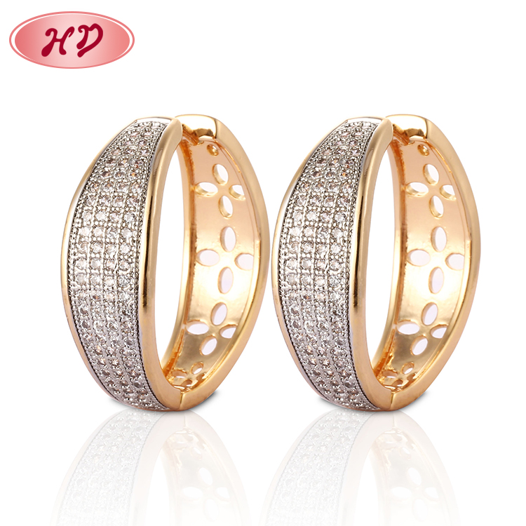 China Suppliers Crystal 18K Gold Plated Zircon Earring Jewelry
