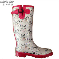 Women fashion rubber rain boot has horse printed with hasp