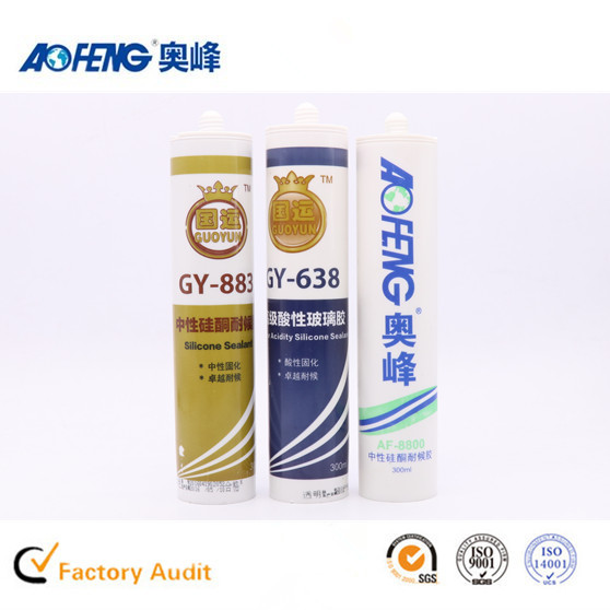 Factory Direct Supply OEM Non-toxic Glass Silicone Glue Neutral Fireproof Silicone Sealant Spray