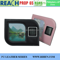Fancy PU Leather Foldable Picture Photo Frame with Digital Clock