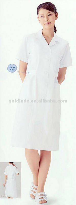 2013 White Lady's Spa Uniform dress Women spa uniform