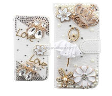 Luxury Leather Wallet Bling Phone Case For iPhone 5 5S, Flip Stand Card Holder DIY Cover For iPhone 5 5S