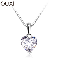 OUXI latest long chain 2$ zircon charm pendant silver heart necklace Y30116