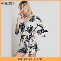 New style printed one piece cotton blouse for woman
