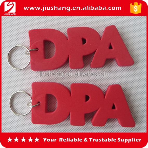 Customized red alphabet shape foam floating key chains