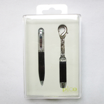 Mini Ball Pen And Mini Torch With Keychain Packed In A Transparent Gift Box