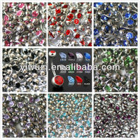 2013 Hot Selling Stock 10 Colors Double Crystal Gem Banana Belly Bar Body Jewelry Navel Rings