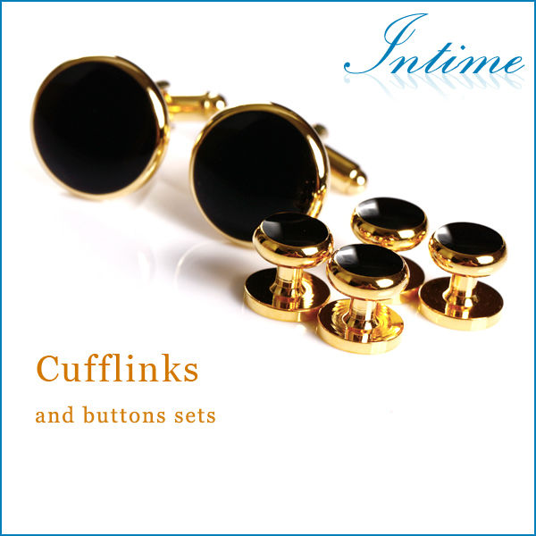 Gold plated metal buttons Cufflinks and buttons sets Enamel Shirt Studs