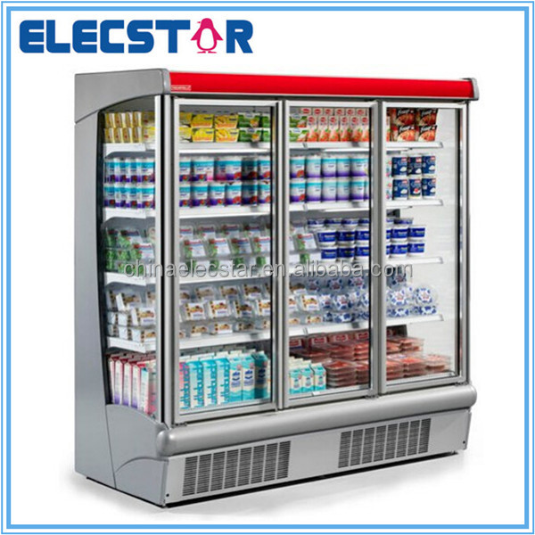St Louis upright glass door supermarket chiller/refrigeration equipment/display cooler showcase, Plug-in Low Front Multideck