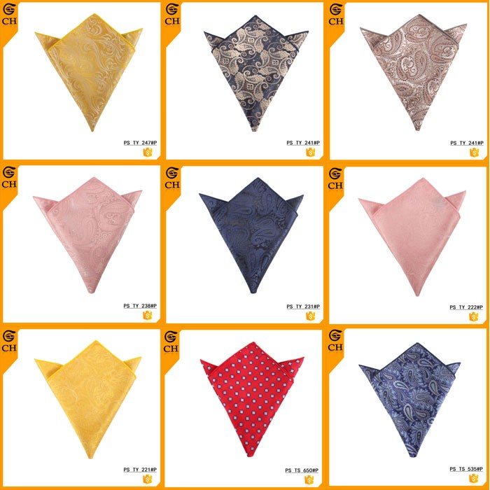 Hot Sale Colorful Polyester Paisley Pocket Square for Men