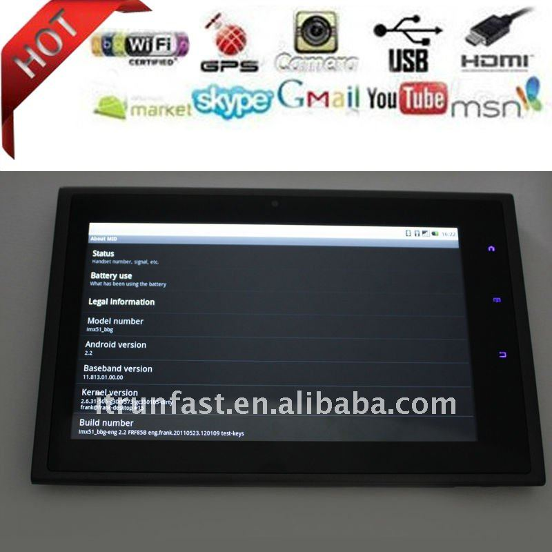 Google 2.2 7 inch Capacitive mid tablet pc