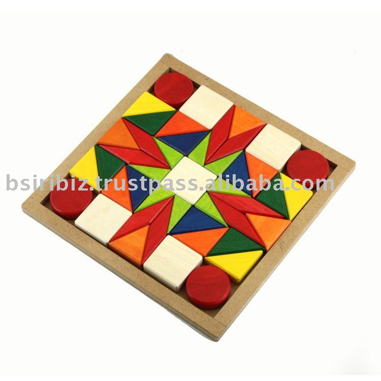 Educational toy wooden Mosaic shape sorter wooden toy