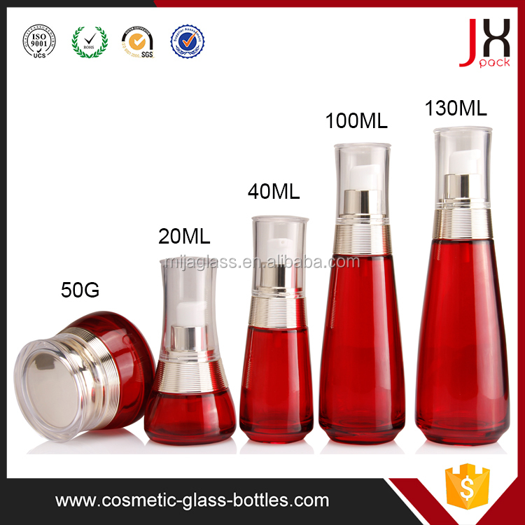 Wholesale Cosmetic Wine Red Colored Glass Bottle 40ml Slim Mini Red Cosmetic Glass Bottle