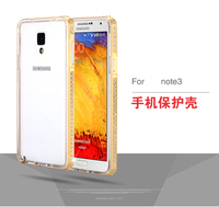 2 in 1 Plating 24K gold with Bling Diamond Metal Frame + TPU Case for samsung Galaxy Note 3