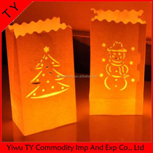 Colored luminary christmas fireproof paper candle bag