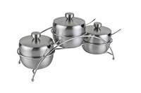 Condiment stainless steel round cruet set