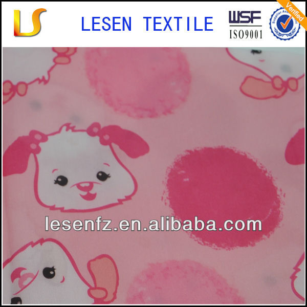 Lesen Textile Lovely designed catoon dog pattern printed polyester taffeta fabric