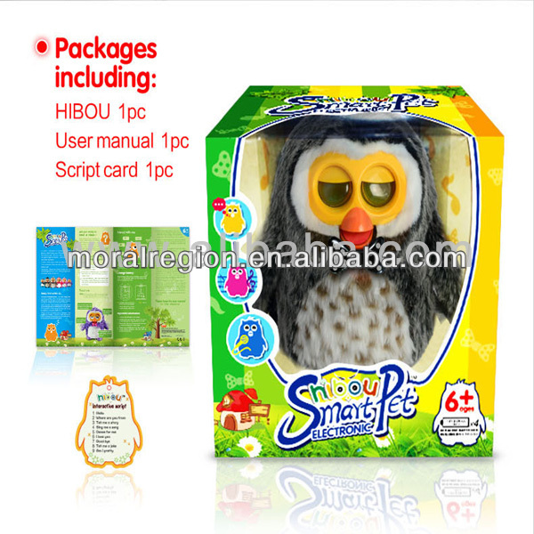 new arrival Android or IOS device's ultrasonic control kids plush smart electronic pet-owl toy-moral region manufacturer