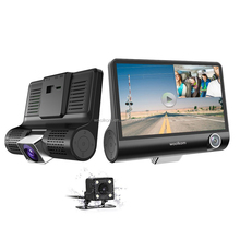"1080P HD 3 Channel Car Dashbord Camera 140 Degree Wide Angle Car Recorder with 4"" IPS Display G-Sensor HDR Loop Recording"