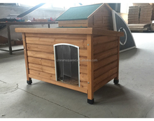 Outdoor Dog House fir wood pet House dog Kennel with flat waterproof roof