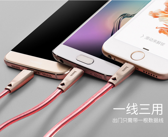 2in1 Charging Data Cable for iphone5/6/7 Micro USB durable fast charger Hoco U9 ladekabel plug cord wire